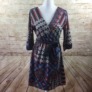 Everly Chevron Belted Surplice Neckline Dress L